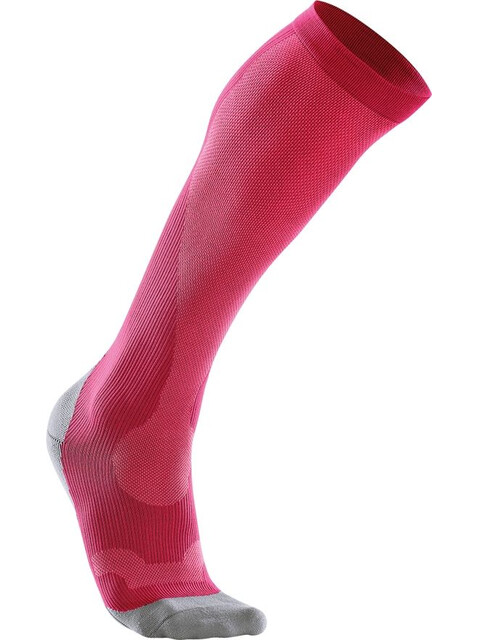 2XU Compression Performance Run Socks Women Hot Pink/Grey